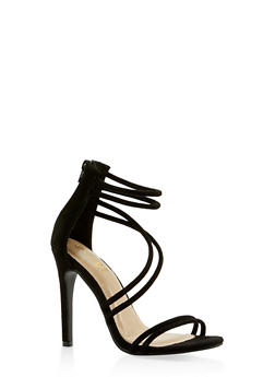Faux Suede Cross Strap High Heel Sandals - BLACK SUEDE - 3111074047225