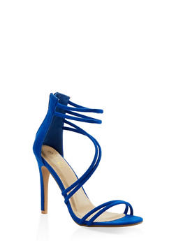 Faux Suede Cross Strap High Heel Sandals - BLUE - 3111074047225