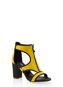 Zip Front Neoprene High Heel Sandals - YELLOW - 3111075531972
