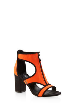 Zip Front Neoprene High Heel Sandals - ORANGE - 3111075531972