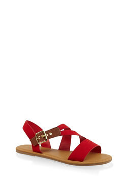 Buckle Strap Sandals - RED - 3112004062283