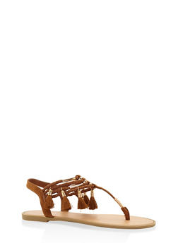Tassel Elastic Thong Sandals - TAN - 3112004062435