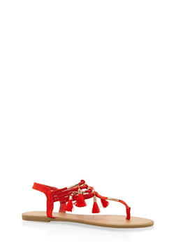Tassel Elastic Thong Sandals - RED - 3112004062435