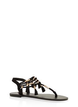 Tassel Elastic Thong Sandals - BLACK SUEDE - 3112004062435