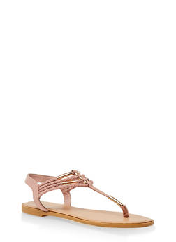 Metallic Detail Braided Strap Thong Sandals - MAUVE - 3112004062436