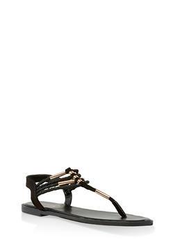 Metallic Detail Braided Strap Thong Sandals - BLACK SUEDE - 3112004062436