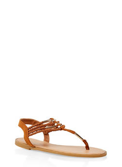Metallic Detail Braided Strap Thong Sandals - 3112004062436