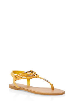 Metallic Detail Braided Strap Thong Sandals - 3112004062436