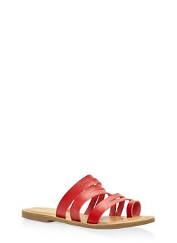 Strappy Toe Ring Sandals - RED - 3112004062471