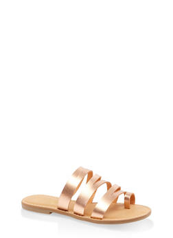 Strappy Toe Ring Sandals - ROSE - 3112004062471
