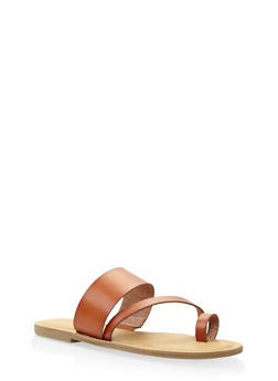 Toe Ring Strap Slide Sandals - TAN - 3112004062473