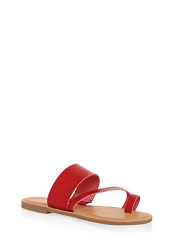 Toe Ring Strap Slide Sandals - RED - 3112004062473