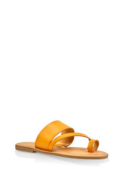 Toe Ring Strap Slide Sandals - YELLOW - 3112004062473