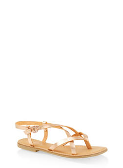 Cross Strap Slingback Sandals - ROSE - 3112004062475