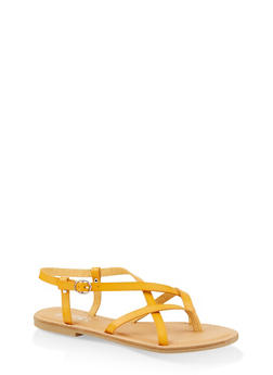 Cross Strap Slingback Sandals - YELLOW - 3112004062475