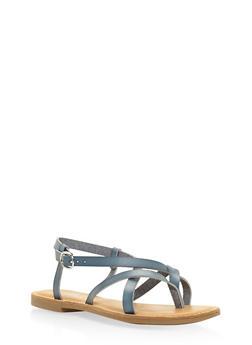 Cross Strap Slingback Sandals - BLUE - 3112004062475