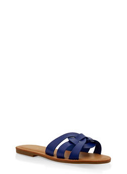 Woven Multi Strap Slide Sandals - BLUE - 3112004062479