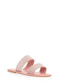 Rhinestone Studded Double Strap Slide Sandals - 3112004062530