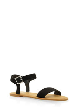 Ankle Strap Sandals - BLACK SUEDE - 3112004062541