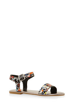 Ankle Strap Sandals - BLACK MULTI - 3112004062541