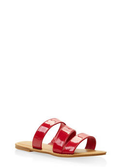Triple Band Slide Sandals - RED - 3112004062542