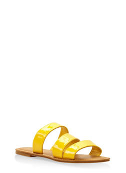 Triple Band Slide Sandals - YELLOW - 3112004062542