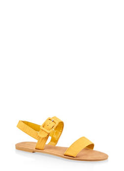 Ankle Strap Large Buckle Sandals - YELLOW - 3112004062547