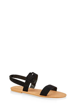 Ankle Strap Large Buckle Sandals - BLACK SUEDE - 3112004062547