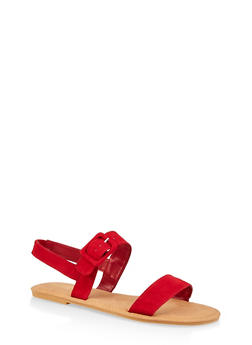Ankle Strap Large Buckle Sandals - RED S - 3112004062547