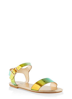 Buckle Ankle Strap Sandals - GREEN - 3112004062560