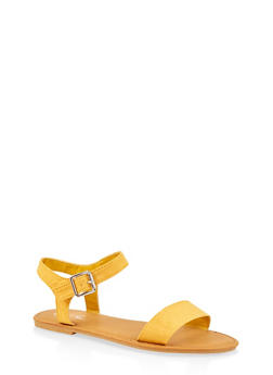 Buckle Ankle Strap Sandals - YELLOW - 3112004062560