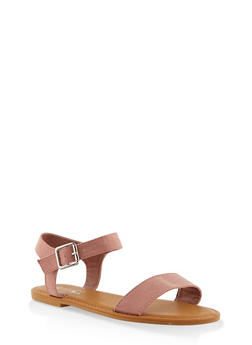 Buckle Ankle Strap Sandals - BLUSH - 3112004062560