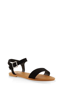 Buckle Ankle Strap Sandals - BLACK SUEDE - 3112004062560