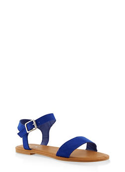 Buckle Ankle Strap Sandals - BLUE - 3112004062560