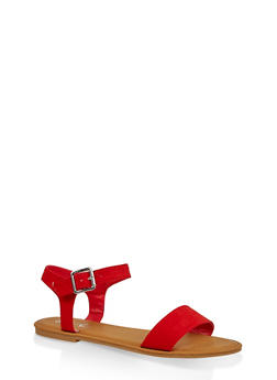 Buckle Ankle Strap Sandals - RED S - 3112004062560
