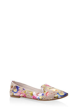 Pointed Toe Faux Patent Leather Flats - 3112004062564