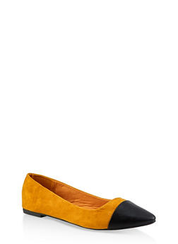 Faux Leather Pointed Toe Flats - 3112004062568