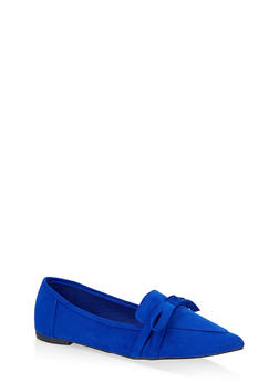 Pointed Toe Bow Flats - NAVY S - 3112004062573