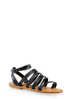 Asymmetrical Strappy Toe Ring Sandals - BLACK - 3112004062662