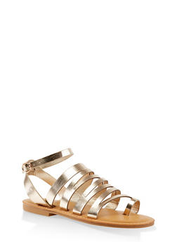 Asymmetrical Strappy Toe Ring Sandals - GOLD - 3112004062662