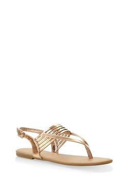 Slingback Thong Sandals - BRONZE - 3112004062740