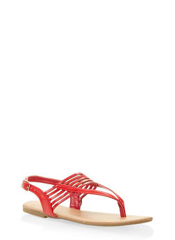 Slingback Thong Sandals - RED - 3112004062740