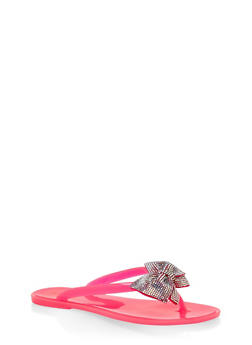 Jelly Rhinestone Bow Flip Flops - 3112004062798