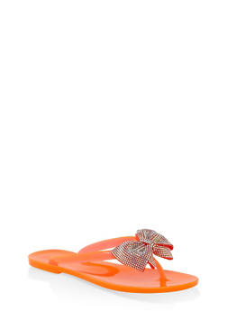 Jelly Rhinestone Bow Flip Flops - NEON ORANGE - 3112004062798