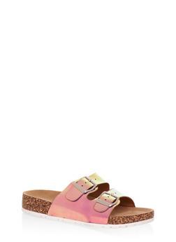 Two Buckle Strap Footbed Slide Sandals - 3112004063335