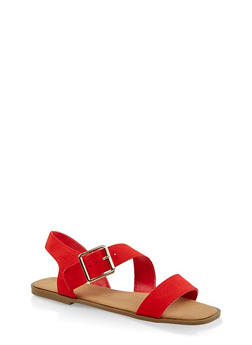 Double Band Asymmetrical Ankle Strap Sandals - 3112004063354