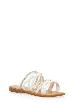 Rhinestone Studded Strappy Slide Sandals - WHITE - 3112004063535