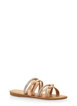 Rhinestone Studded Strappy Slide Sandals - NUDE - 3112004063535