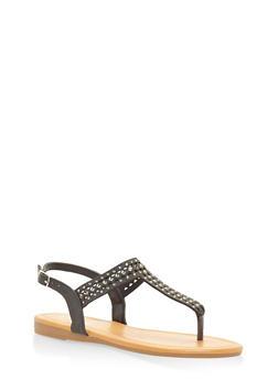 Rhinestone Slingback Thong Sandals - BLACK - 3112004063536