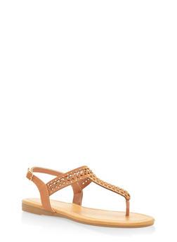 Rhinestone Slingback Thong Sandals - TAN - 3112004063536